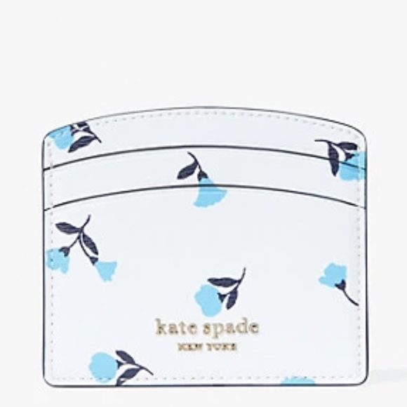 kate spade Handbags - KATE SPADE WHITE CARDHOLDER WITH BLUE FLOWERS!